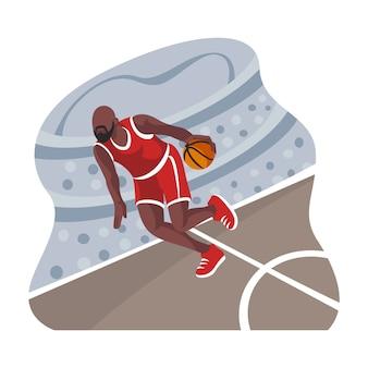 バスケットボール選手のフラットデザインイラスト