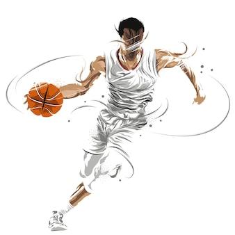 Basketball player grunge painting