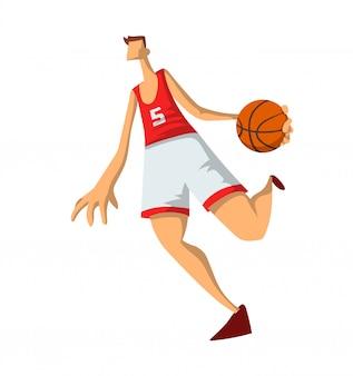 抽象的なスタイルのバスケットボール選手。バスケットボールのボールで遊ぶ男。白い背景のイラスト。
