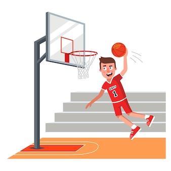 빨간 유니폼을 입은 농구 선수가 공을 링에 던졌습니다.