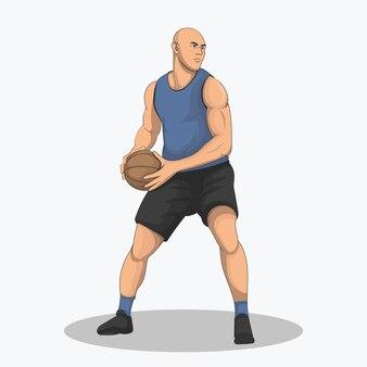 Баскетболист захватывает мяч и пытается найти правильную цель