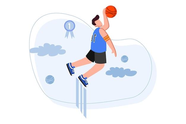 Баскетболист прыгает и держит мяч иллюстрации