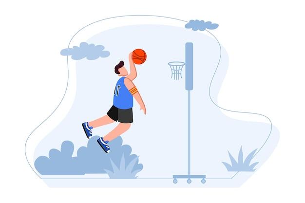 Баскетболист прыгает, чтобы сделать иллюстрацию slam dunk