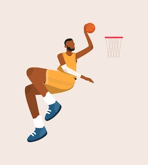Basketball player jumping to illustration