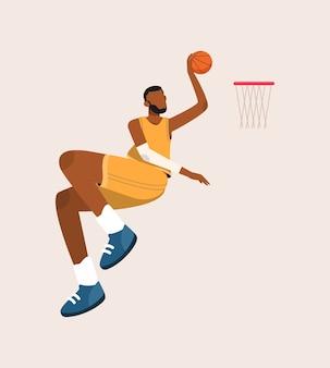 그림으로 점프하는 농구 선수