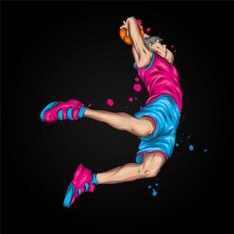 Баскетболист прыгает с мячом. спорт и баскетбол.