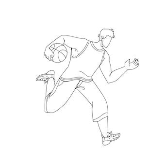 Баскетболист человек работает с мячом черная линия карандашный рисунок вектор. баскетбол играет молодой мальчик-спортсмен. спортивный персонаж, одетый в спортивную одежду, тренировка или соревнование иллюстрации