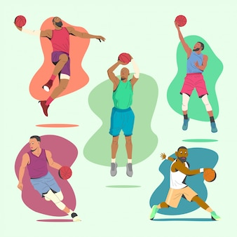 Игрок баскетбола перемещает иллюстрационную коллекцию.