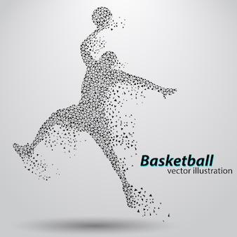 三角形のバスケットボール選手。