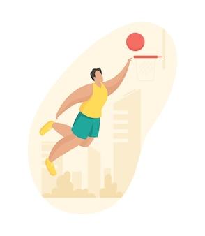 농구 선수는 바구니에 공을 던졌습니다. 반바지와 티셔츠를 입은 남자가 슬램 덩크로 점프합니다. 개방 된 여름 지역에서 프로 선수 훈련
