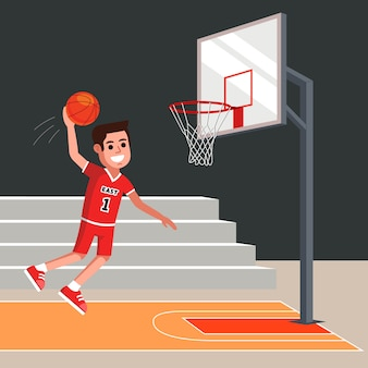Basketball player throws an orange ball into the basket. flat character vector illustration.