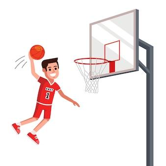 농구 선수가 농구 대에 공을 던졌습니다. 평면 그림.