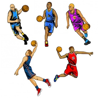 Basketball player vector set