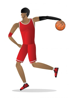Basketball player in white red uniform with the ball