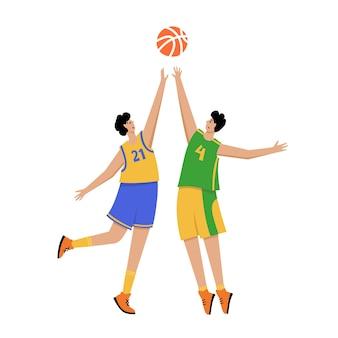 Basketball player with ball. men's basketball championship poster, sport banner