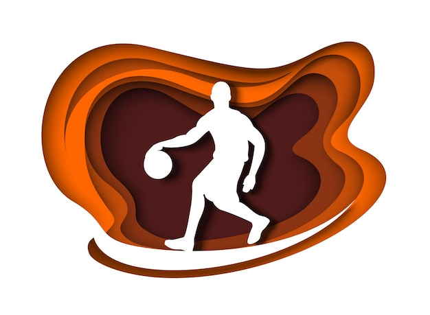 Basketball player with ball silhouette vector illustration in paper art style professional athlete b...