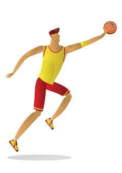 Basketball player in yellow red uniform with the ball