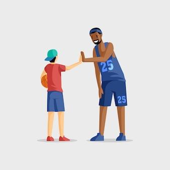 バスケットボール選手のフラットイラスト。チームゲーム、スポーツ競技、アクティブな休息とレジャー。バスケットボールのコーチと白で隔離ボール漫画のキャラクターを持つ若い選手