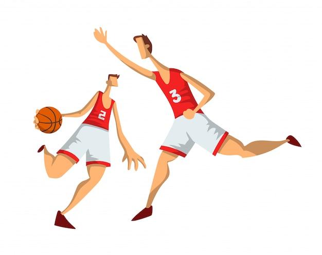 Баскетболисты в абстрактном стиле. мужчины играют с баскетбольным мячом. иллюстрация на белом фоне.