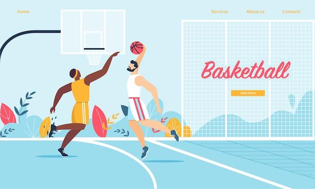 Баскетболисты в действии. человек нападения, кладущий мяч в корзину