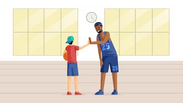 スポーツホールフラットイラストのバスケットボール選手。チームゲーム、トレーニング、スポーツ競技の準備、趣味、アクティブレジャー。コーチとボールの漫画のキャラクターを持つ小さなバスケットボール選手