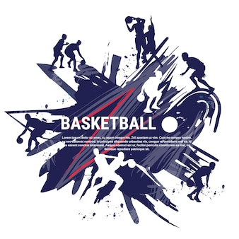 Basketball players sportsman sport competition logo banner