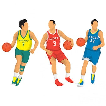 Basketball players vector collection