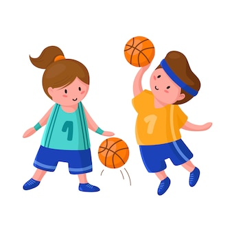 Basketball players with ball - cute cartoon boy and girl isolated on white, people doing sport
