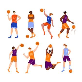 Basketball players with ball