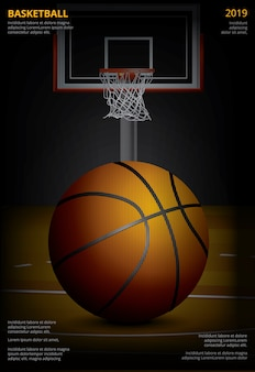 Basketball poster advertising vector illustration