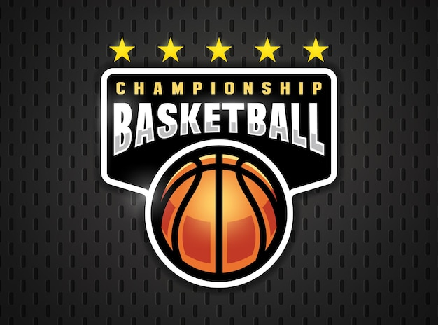 플랫 스타일의 농구 전문 로고. 스포츠 게임.