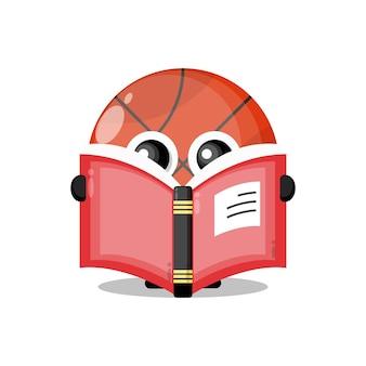 Баскетбол читает книгу милый талисман персонажа