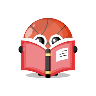 Basketball reading a book cute character mascot