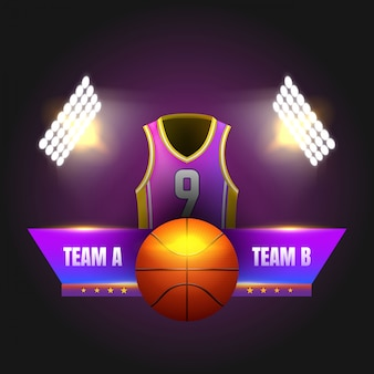 スタジアムのライトとシャツが入ったバスケットボールのスコアボード