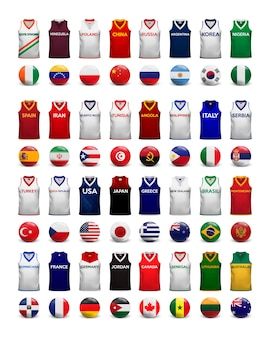 농구 셔츠. 국가 대표팀의 티셔츠와 깃발 컬렉션.