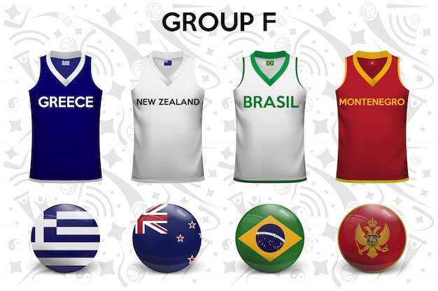 Basketball shirts. set of t-shirts and flags of the national teams.