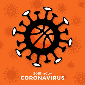 Basketball   sign caution coronavirus. stop covid-19 outbreak. coronavirus danger and public health risk disease and flu outbreak. cancellation of sporting events and matches concept