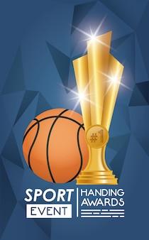 Баскетбольный спортивный воздушный шар и трофей Premium векторы
