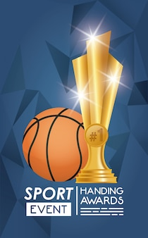Basketball sport balloon and trophy