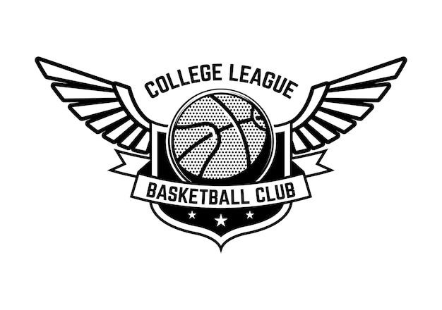 Basketball sport emblem with wings