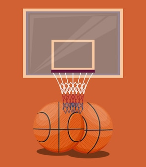 Basketball sport game orange background items