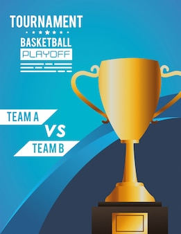 Basketball sport poster with trophy cup