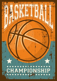 Basketball sport retro pop art poster signage