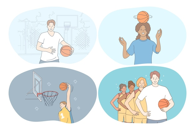 Баскетбол, спорт, концепция командных соревнований.