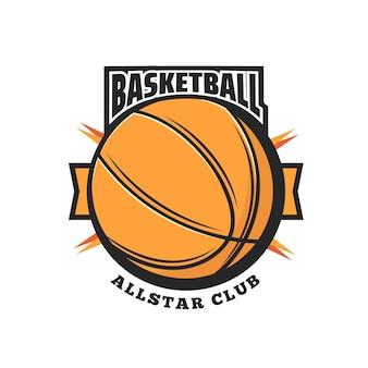オレンジ色のボールとリボンのバナーとバスケットボールスポーツベクトルアイコン。バスケットボールの試合チームのスポーツクラブは、センター、フォワード、ガードプレーヤーのゴムまたは革のボールでシンボルまたはエンブレムのデザインを分離しました