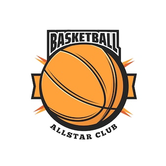 Basketball sport vector icon with orange ball and ribbon banner. basketball game team sport club isolated symbol or emblem design with rubber or leather ball of center, forward and guard players
