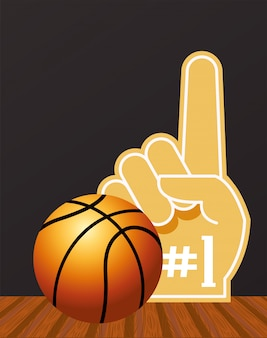 Basketball sport with balloon and number one glove