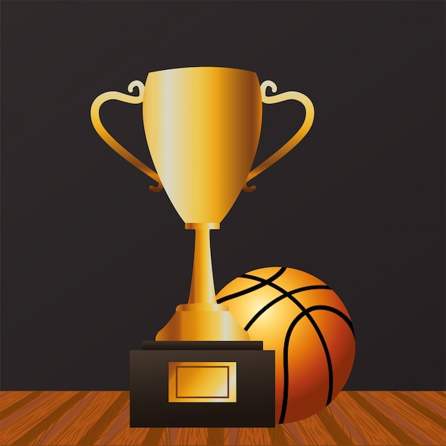 Basketball sport with balloon and trophy