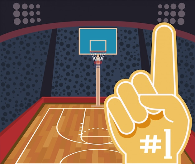 Basketball sport with number one glove