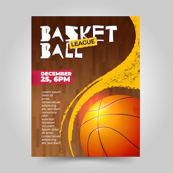 Basketball sports flyer with grunge texture
